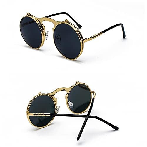 SLAKF Gafas de Sol Steampunk Redondo Sunglass Sun Damas Men Metal Retro Redondo (Lenses Color : 01)