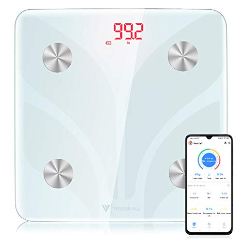 Body Weight Scale Tenswall Digital Bathroom Scale Body Composition Monitor Health Analyzer with Smartphone App for Body Weight Body Fat Water BMI BMR Muscle Mass
