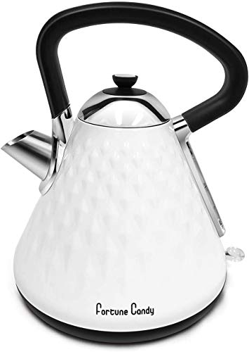 Electric Kettle,Fortune Candy Electric Tea Kettle BPA-Free Stainless Steel Portable Fast, 1.7L Electric Hot Water Kettle ,Auto Shut-off & Fast Boiling, Dry Protection, Suitable For Coffee, Tea(White)