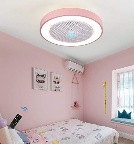 CAGYMJ Ventilador de Techo con lámpara, LED luz del Ventilador, 3 Velocidades, 3 Colores Regulables, con Control Remoto Inteligente, 60W Lámpara de Techo para Sala de Estar del Dormitorio,Rosa