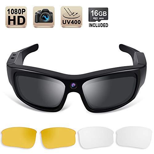1080P HD Occhiali da Sole Telecamera Spia Videoregistratore Azione Telecamera con Lenti Polarizzate UV400, Supporto Fotografia, Scheda di Memoria da 16GB Integrata