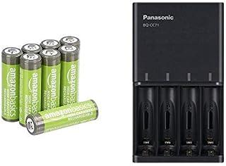 【セット買い】Amazonベーシック 充電池 高容量充電式ニッケル水素電池単3形8個セット (充電済み、最小容量 2400mAh、約500回使用可能) & パナソニック 充電器 単3形・単4形 黒 BQ-CC71AM-K