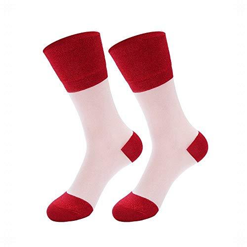 Silber Zwiebel Korean White Card Seide Gold und Silber Seide Mosaik Pile Socken weiblich -3 Paar Frühjahr und Sommer neue transparente helle Seide Tube weibliche Socken Lässig Bequem ( Farbe : 3-Red )