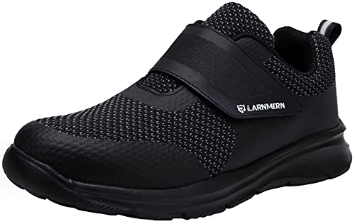 LARNMERN PLUS Zapatillas de Seguridad Mujer Comodo Ligeros Zapatos de Seguridad Punta de Acero Transpirable Calzado de Seguridad Trabajo Antideslizante Anti-pinchazo(38 EU,Super Negro)