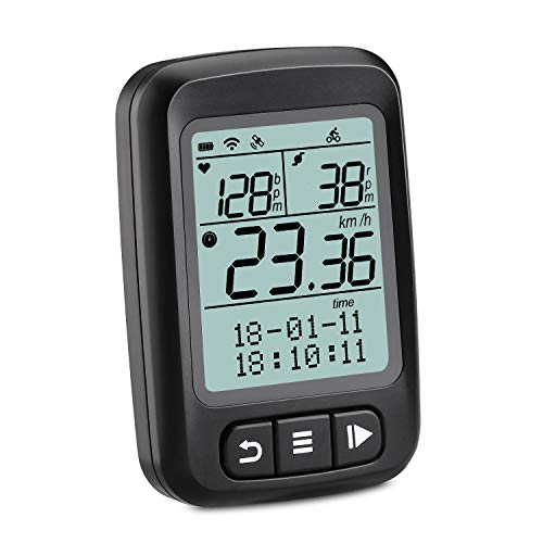 Wantacme Wireless Bike Computer GPS Bluetooth/ANT+ Cycling Computer IP67 Waterproof Bicycle Speedometer and Odometer