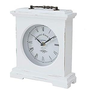 Uhr Vintage Uhr Antik 24x21cm Weis Uhrzeit Zeit Standuhr Uhr zum Stellen