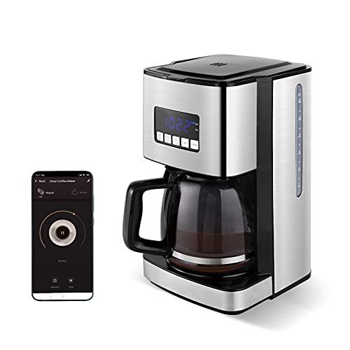 SYSYLY Cafetera Goteo,Máquina de café Smart WiFi, plateada / acero inoxidable, jarra de 12 tazas, filtro reutilizable, compatible con Alexa, Google, iOS, Android Wi-Fi y la aplicación Smart Life