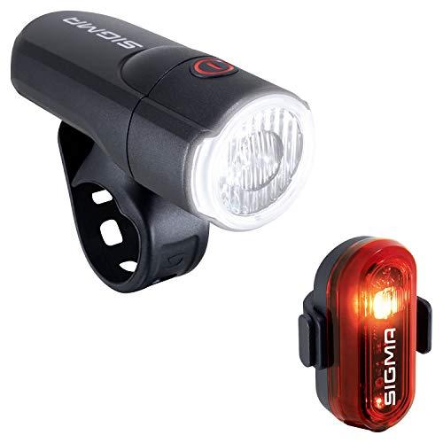 SIGMA SPORT - LED Fahrradlicht Set Aura 30 und Curve | StVZO zugelassenes, batteriebetriebenes Vorderlicht und Rücklicht | Farbe: Schwarz