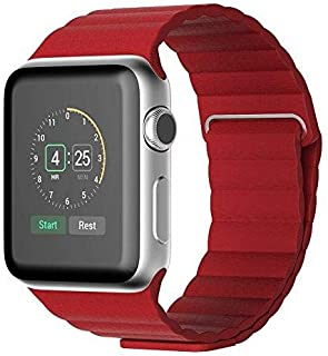 Magnetic Leather Wrist Loop Strap for Apple Watch 38mm - Deep Red