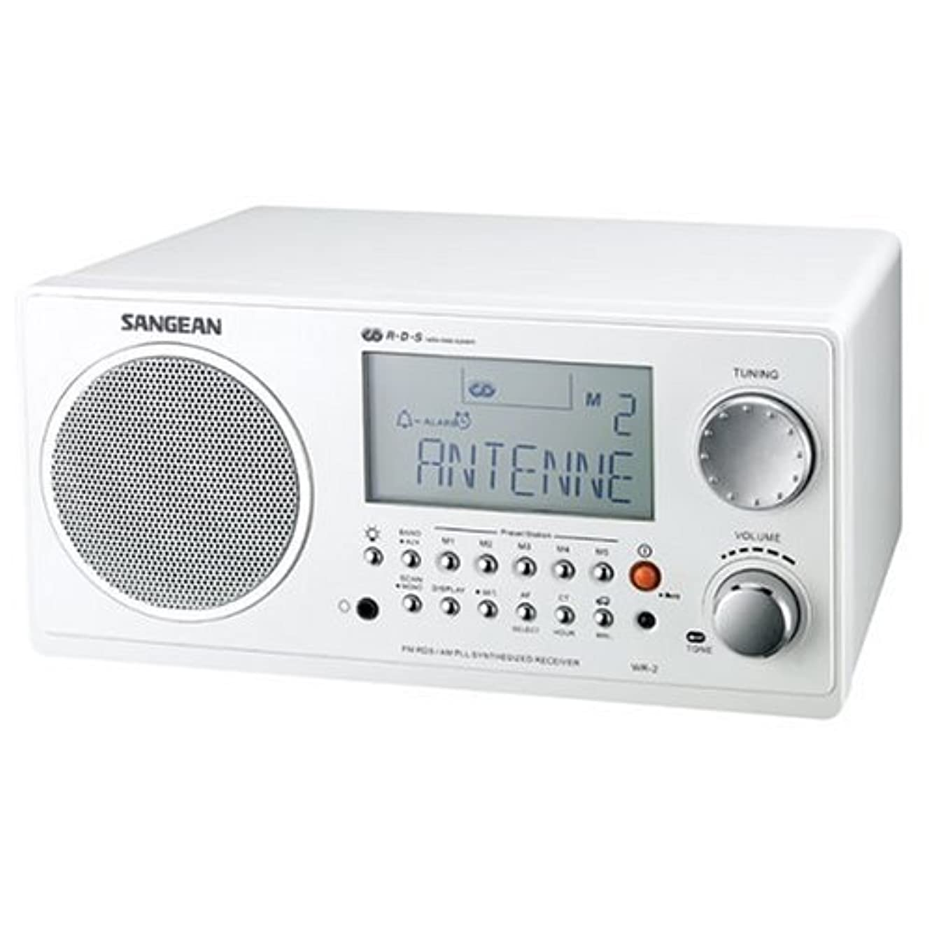 Sangean WR-2 AM / FM-RBDS Wooden Cabinet Digital Tuning Radio (White)