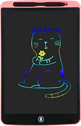 Orimi 12 Pulgadas Tableta de Escritura LCD Tablet Escritura Pantalla Colorido Infantil Tableta Grafica Dibujo Pizarra para Niños (Líneas de Colores, Rosa)