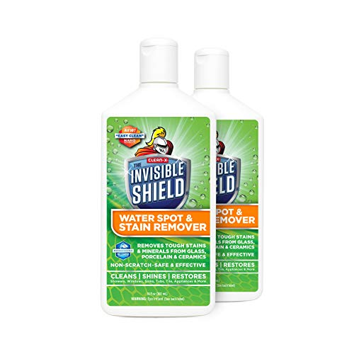 Invisible Shield Water Spot & Stain Remover Scrub 10 fl. oz. Removes Hard Water Spots and Soap Scum from Glass and Multi Surface by UNELKO- Clean-X Invisible Shield 2 Pack