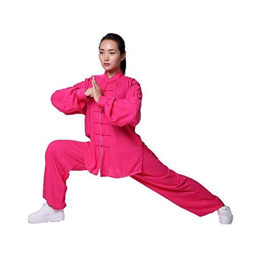 ANXWA Uniformes de tai chi tradicionales chinos de tai chi uniforme taekwondo tai chi traje chino kung fu ropa de algodón y lino ala chun Zen meditación traje de yoga, rojo XXL