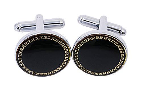 Gemelos con diseño de llave griega de Sincerely For You – Gemelos para él – Ideas de regalo para papá, cumpleaños, día del padre, Navidad, juego de lujo personalizado