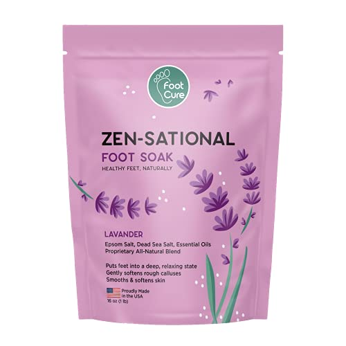 Lavender Foot Soak with Epsom Salt - Natural Blend Soothes Sore & Tired Feet, Soften Calluses, Helps Toenail and Fingernail Be Healthy and Removes Stubborn Foot Odors, Made in USA, 1 lb / 16 oz