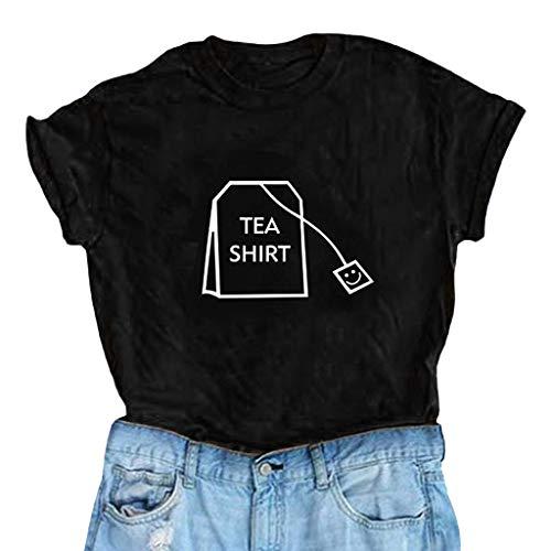 Skang Deman T-Shirt Große Größen Casual Mode O-Neck Einfarbig Briefdruck Kurzarm Oberteil Tops S-XXXL(M,Schwarz)