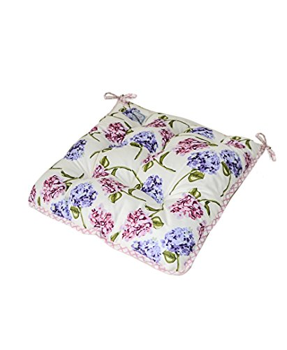 Provence Soft 100% Cotton Floral Chair Cushion with Ties in...