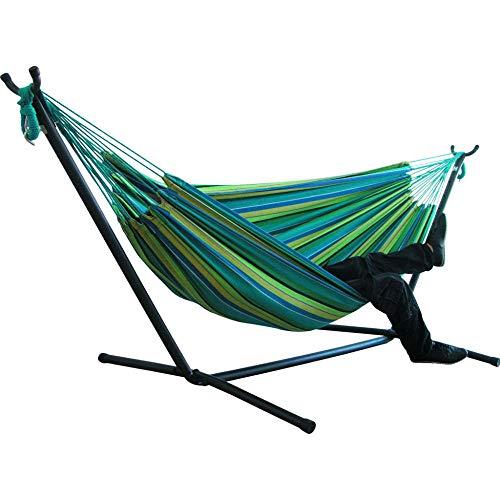 Hamac pour Deux Personnes Camping épaissir Chaise pivotante lit Suspendu extérieur Chaise à Bascule en Toile Non avec Support de hamac 200 * 150 cm-Chamois_