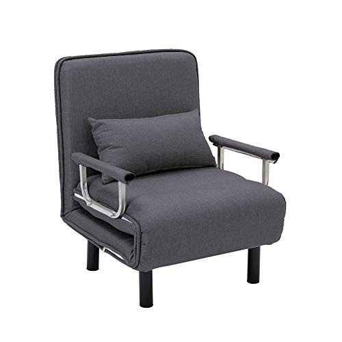 INMOZATA INMOZTA Folding Futon Chair Bed Single Sofa Bed Guest Sleeper Chair Bed with Pillow for Home Bedroom Living Room (Grey)