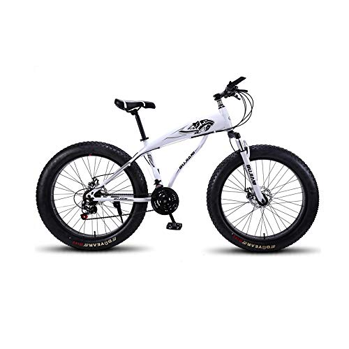 GYZLZZB Colored Rim Cross-Country Beach Snowmobile 26' Mountain Bikes,7 Speed Bicycle,Adult Fat Tire Mountain Trail Bike,Aluminium Alloy Frame Dual Full Suspension Dual Disc Brake(Black and White)