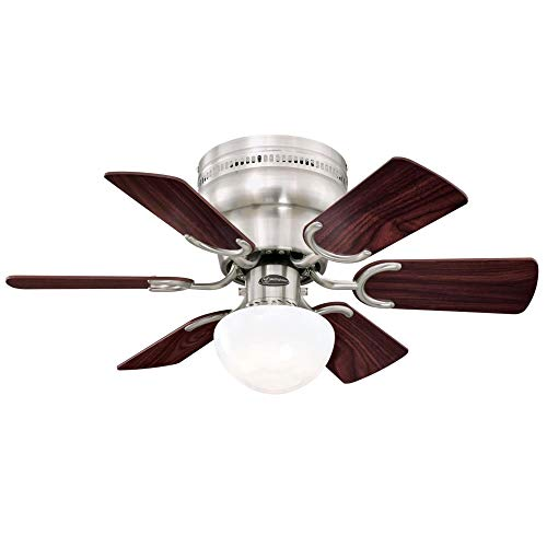 Westinghouse Lighting 7230700 Petite Indoor Ceiling Fan with Light, 30 Inch, Brushed Nickel