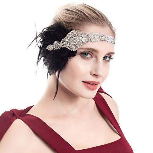 FEOYA Bandeau année 20 Femme Bandeau Plume Charleston Femme Flapper Vintage 1920s Accessoire Gatsby Femme Déguisement Gatsby Blanc