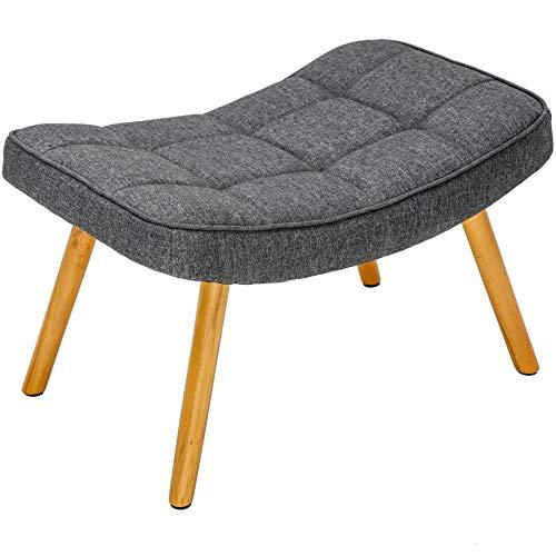 Invicta Interior Design Hocker Scandinavia grau Buche Scandinavian Design Fußhocker Polsterhocker Sitzhocker