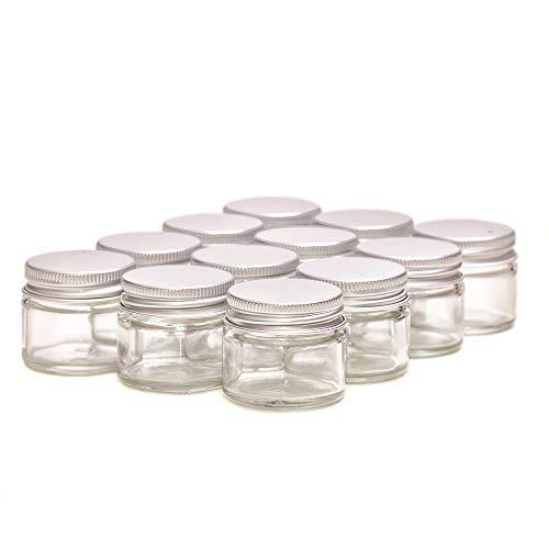 confezione da 12 - 15ml VETRO TRASPARENTE Barattoli with SILVER Coperchi per Aromaterapia Miscele / Cioccolatino