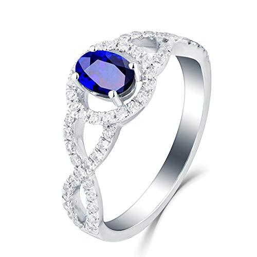 ANAZOZ Echtschmuck Ring Damen 18K 750 Weißgold Infinity Symbol Unendlichkeit Oval 0.41Ct Saphir Blau Eheringe Trauringe Hochzeitsringe Brilliant Solitär-Ring Diamantring Größe:49 (15.6)
