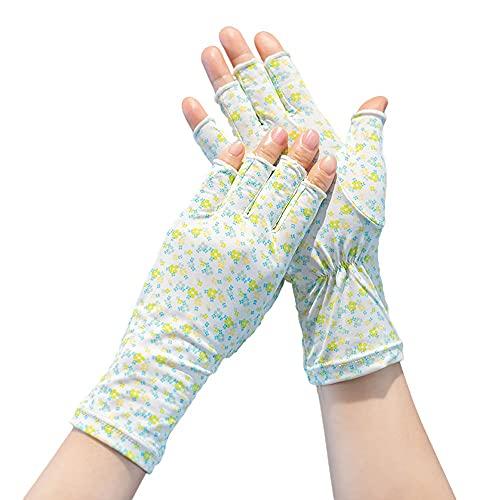 Jamkf Los pequeños guantes frescos sin dedos, la versión coreana femenina de la conducción floral anti-ultravioleta y los guantes cortos delgados de algodón de medio dedos son adecuados para regalar a