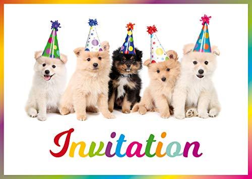Edition Colibri 10 Cartes d'invitation Chiens Mignons en français pour l'anniversaire d'un Enfant ou pour Une fête (11077 FR)