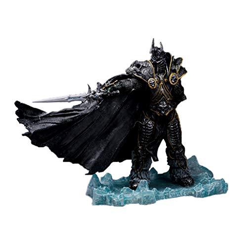 Showkig PVC Figure 20cm unbegrenzt World of Warcraft Figur: Der Lichkönig: Arthas Menethil Static Modell Statue Puppe-Kasten Dekoration Ausgestattet mit Waffen Schwarz