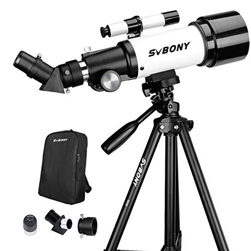 Svbony SV501P Teleskop Astronomie Anfänger,400/70mm Teleskop Astronomie Profi,mit Stativ-Rucksack Ideal für Anfänger Kinder Erwachsene,Beobachtung von Himmel Landschaft