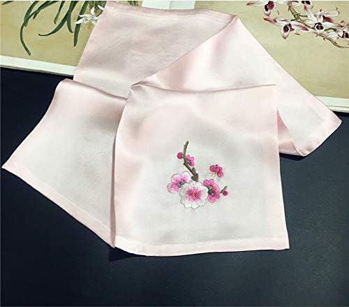 Z.L.FFLZ Embroidery Handkerchief Handkerchief Ladies Plum Embroidered Silk Soft Suzhou Embroidery Floral Handmade Pocket Handkerchief (Color : 02, Size : S)