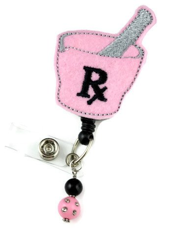 Pharmacy RX Pink/Black - Nurse Badge Reel - Retractable ID Badge Holder - Nurse Badge - Badge Clip - Badge Reels - Pediatric - RN - Name Badge Holder