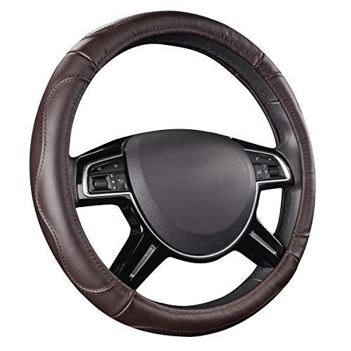 CAR PASS Universal Luxurious Genuine Leather Steering Wheel Cover, Fit for Suvs,Trucks,sedans,Vans(Chocolate)
