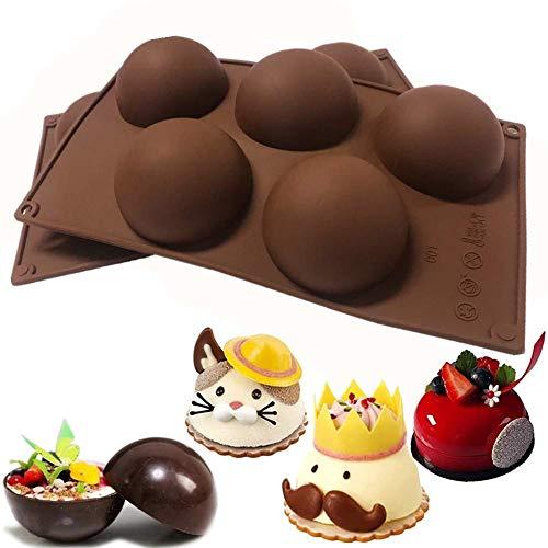2 Piezas Juego de Moldes de Silicona Semiesfera,Cavidades Semiesferico,5 Cavidades Semiesferico,para Bola de Chocolate, Pastel, Gelatina, Pudín
