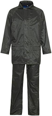 Silver Fancy Dress/® Hi Vis Viz Plain Rainsuit 2 Piece Set Jacket and Trouser Unisex Hooded Puddle Waterproof Outdoor Workwear Polyester Rain Wear