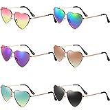 6 Pairs Heart Shaped Sunglasses Vintage Heart Frame Sunglasses Multicolor Metal Retro Glasses for Women (Classic Color)