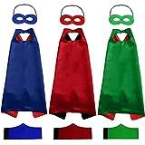 Lovelylife Capa de superhéroe, 3 Capas y 3 máscaras y 3 Pulseras,máscaras de Cosplay para...