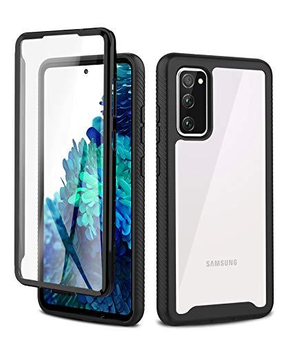 Foreverluck Hülle für Samsung Galaxy S20 FE/S20 Lite, [Integriertem Bildschirmschutz] 360 Grad Stoßfest Handyhülle, Hart PC Zurück + Weich TPU Vorderseite, Schwarz