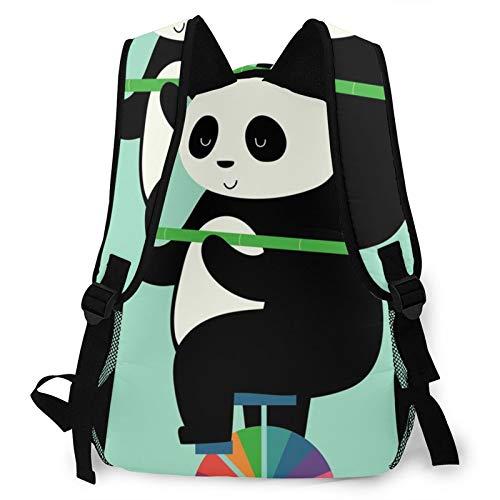 Wheelbarrow Panda Printed Backpack,Side Mesh pocket Multifunction Portable Computer Shoulders Daypack