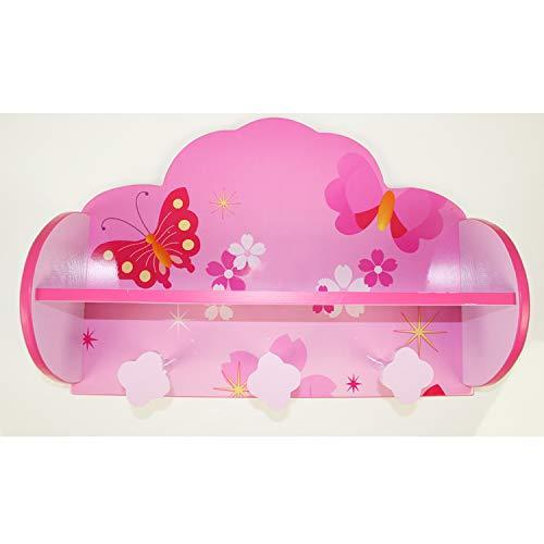 Homestyle4u 771, Kindergarderobe Schmetterling Blumen, Kinderzimmer Garderobe mit 3 Haken, Holz Pink Rosa