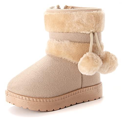 Vorgelen Botas de Nieve para Niños Invierno Felpa Botines Calentar Botas de Nieve Bebés Antideslizantes Zapatos Botas (152 Beige - 31 EU = Etiqueta 32)