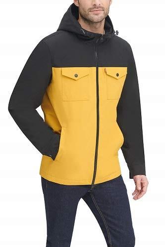 Levi's Men's Hooded Waterproof Arctic Cloth Rain Jacket, Yellow/Black, X-Large