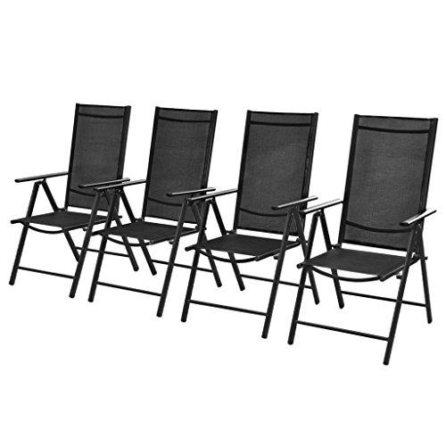 Lingjiushopping en plein air Chaises 4 pcs Aluminium Noir 54 x 73 x 107 cm Couleur : Noir Matériau : acier laqué cadre en aluminium + Assise et dossier en textilène