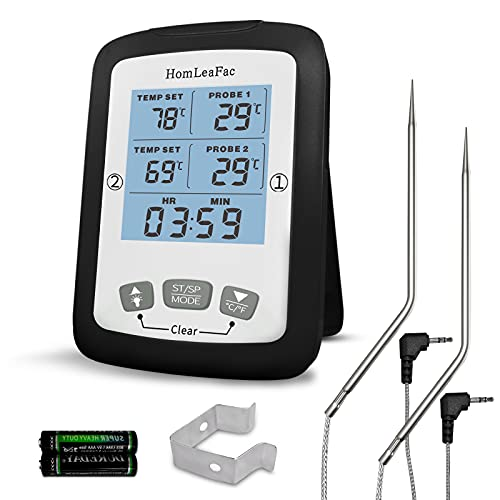 Meat Thermometer, HomLeaFac Dual Probe Digital Instant Read Food Thermometer with Alarm and Calibration Function, Large Backlit Screen Thermometer for Smoker Oven Kitchen, Outdoor Cooking, and BBQ