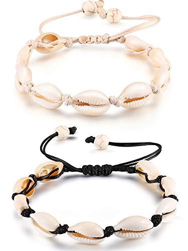 2 Piezas Natural Cowrie Shell tobillo pulseras Seashell Crochet tobillo pulsera hecha a mano Boho tobillera joyería ajustable Shell grano tobillera para mujeres niñas Hawai fiestas en la playa