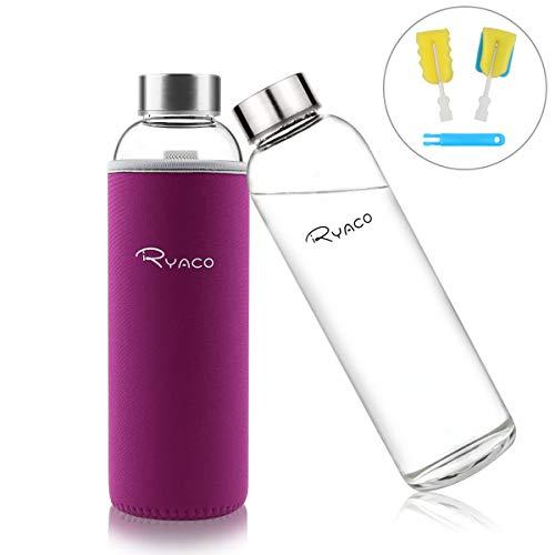 Ryaco Glasflasche Trinkflasche Classic Tragbare 550ml BPA-frei für unterwegs Sportflasche Glas Wasserflasche zum Mitnehmen von kalten Heiß Getränken mit Neopren Tasche und Schwammbürste (Rot-violett)