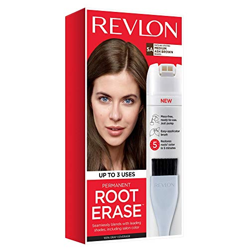 Revlon Root Erase Permanent Hair Color, At-Home Root Touchup Hair Dye with Applicator Brush for Multiple Use, 100% Gray Coverage, Medium Ash Brown (5A), 3.2 oz